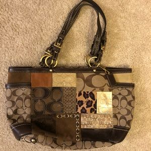 Coach Brown Leather Patch Work Bag
